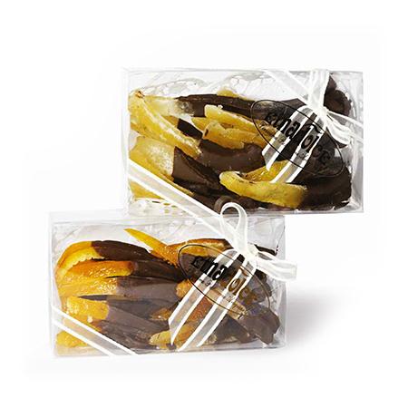 Kandierte Orangenstücke mit Schokolade