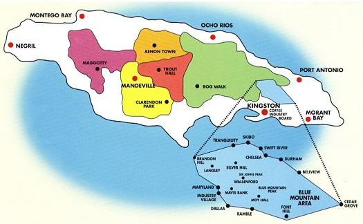 Jamaica Kaffee Anbauregionen